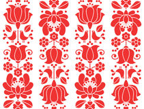 Kalocsai emrboidery red seamless patternn - floral folk art background Stock Photos