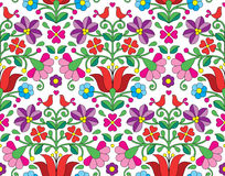 Kalocsai floral emrboidery seamless pattern - Hungarian folk art background Stock Photography