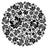 Kalocsai folk art embroidery - black Hungarian round floral folk pattern. Vector background - traditional monochrome pattern from Hungary isolated on white Royalty Free Stock Photography