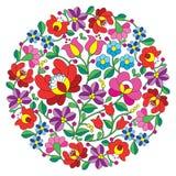 Kalocsai folk art embroidery - Hungarian round floral folk pattern Stock Photos