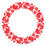 Kalocsai red embroidery in circle - Hungarian floral folk pattern Stock Image
