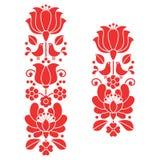 Kalocsai red embroidery - Hungarian floral folk art long patterns Stock Image