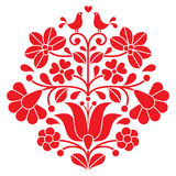 Kalocsai red embroidery - Hungarian floral folk pattern with birds Stock Image