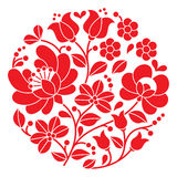 Kalocsai red embroidery - Hungarian round floral folk pattern Stock Photo