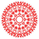 Kalocsai red floral embroidery - Hungarian round folk art pattern Royalty Free Stock Photo