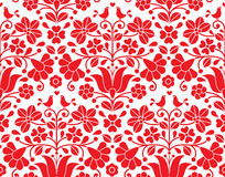 Free Kalocsai Red Floral Emrboidery Seamless Pattern - Hungarian Folk Art Background Royalty Free Stock Image - 80547366