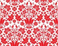 Kalocsai red floral emrboidery seamless pattern - Hungarian folk art background Royalty Free Stock Image