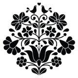 Kalocsai schwärzen Stickerei - ungarisches Blumenvolksmuster mit Vögeln Lizenzfreie Stockfotos