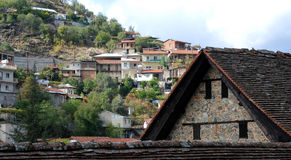 Kalopanayiotis Cyprus mountain village. Kalopanayiotis mountain  village at Troodos area in Cyprus. The church in the front is the famous Agios Ioannis Royalty Free Stock Photo