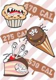 kalorie potwór słodkich ilustracja wektor