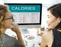 Kalorien Nahrungs-Lebensmittel-Übungs-Konzept- Stockfotos