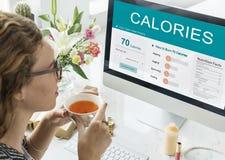 Kalorien Nahrungs-Lebensmittel-Übungs-Konzept- Stockfoto