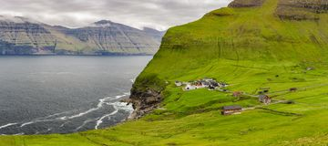 Kalsoy Island and Kallur lighthouse, Faroe Island Royalty Free Stock Photo