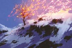 Kalt träd i vinter med glödande snö Arkivfoto