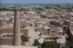 Kalta较小尖塔在Khiva, Khorezm地区,乌兹别克斯坦 免版税图库摄影