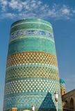 Kalta mindre minaret i Ichan Qala, Khiva Unesco-världsarv Arkivbilder