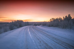 Kalte Landschaft von Lappland-Winter stockfoto