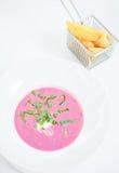 Kalte Mangoldsuppe (Holodnik) Kalte Suppe gemacht von den roten Rüben, von den Gurken, von den Eiern, von den Kräutern und vom Jo Lizenzfreie Stockbilder