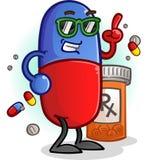 Kalte Pillen-Zeichentrickfilm-Figur Lizenzfreie Stockbilder