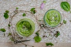 Kalte Spinats- und Avocadosuppe stockfotos