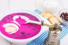 Kalte Suppe der roten Rübe in der Platte auf hellem Hintergrund Stockfotos