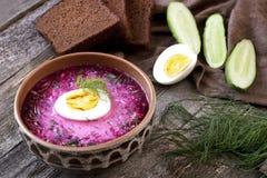 Kalte Suppe mit roten Rüben, Gurken, Dill und Sauerrahm Stockfoto