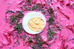 Kalte Suppennahaufnahme Kalte Suppe der roten Rübe mit Ei und Dill Vegetarische Suppe lizenzfreie stockfotos