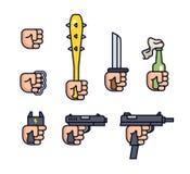Kalte Waffen- und Feuerwaffensammlung Waffen in der Hand Vektorlinie Ikone eingestellt für bewegliches Spiel Faust, Messingknöche Lizenzfreie Stockbilder