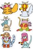 Kalte Winter-Katzen lizenzfreie abbildung