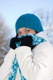 Kalte Winterfrau lizenzfreies stockfoto