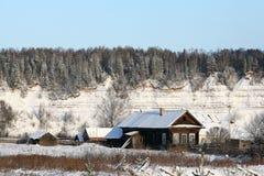 Kalte Winterwaldlandschaftsschneetanne Stockfotos