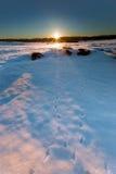 Kalter Sonnenaufgang Stockfoto