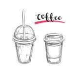 Kalter und heißer Kaffee getränke Vektorhand gezeichnete Abbildung Laptop- und Blinkenleuchte lizenzfreie abbildung