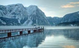Kalter und schneebedeckter Winter im Berg Österreich Lizenzfreies Stockfoto