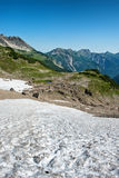 Kalter Winkel snow field at Hochvogel Mountain Royalty Free Stock Images
