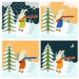 Kalter Winter mit einfrierenden Hasen Lizenzfreie Stockbilder
