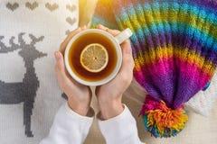 Kalter Winter warm mit warmer Kleidung und heißen Getränken Stockbild