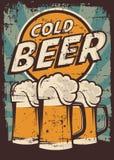 Kaltes Bier-Weinlese Retro- Signage-Vektor stock abbildung