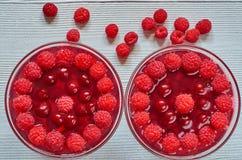 Kaltes Himbeergelee in zwei Gläsern verziert mit frischen organischen Beeren Gesunder Sommernachtisch der Frische auf dem grauen  Stockbild