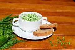 Kaltes okroshka Suppe des Sommers Lizenzfreie Stockbilder