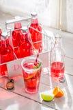 Kaltes Sommergetränk in der Flasche mit Zitrusfrucht Stockfotos