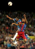 Kalu Uche fights with Keita. Kale Uche(L) of Almeria fights with Keita(R) of Barcelona during the match between FC Barcelona and UD Almeria at the Nou Camp Stock Photo