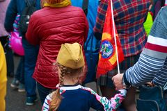 Kaluga city, Russia - May 2019: little girl wearing forage-cap with red USSR flag participates in memorial parade. Kaluga city russia may 2019 russian flag stock photos