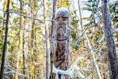 Kaluga-Region, Russland - November 2017: Slawische heidnische Idole auf dem Waldtempel lizenzfreie stockfotografie