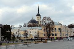 View of the square Old bargaining and the Cathedral of the Trinity of the Life-Giving in Kaluga. KALUGA, RUSSIA - NOVEMBER 12, 2017:View of the square Old Royalty Free Stock Image