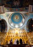 Kaluga Ryssland - Januari 29, 2017 Den kyrkliga domkyrkan Kaluga för helig Treenighet Royaltyfri Fotografi