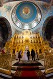 Kaluga Ryssland - Januari 29, 2017 Den kyrkliga domkyrkan Kaluga för helig Treenighet Royaltyfria Foton