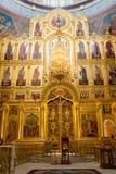 Kaluga Ryssland - Januari 29, 2017 Den kyrkliga domkyrkan Kaluga för helig Treenighet Arkivfoton