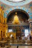 Kaluga Ryssland - Januari 29, 2017 Den kyrkliga domkyrkan Kaluga för helig Treenighet Royaltyfria Bilder