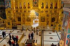 Kaluga Ryssland - Januari 29, 2017 Den kyrkliga domkyrkan Kaluga för helig Treenighet Royaltyfri Foto